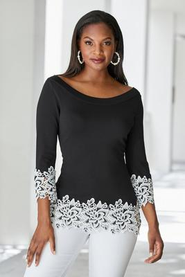 Boat-Neck Lace-Trim Sweater