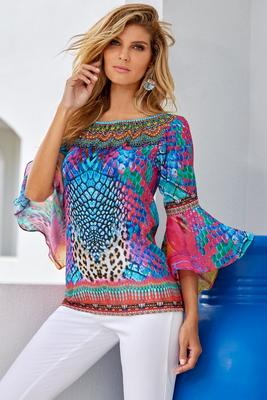 bright animal embellished top
