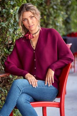 Rhinestone Button Cardigan Sweater