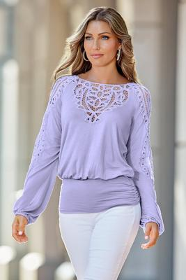 Lace Trim Blouson Top
