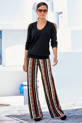 Beyond Travel™ Python Stripe High-Rise Palazzo Pant