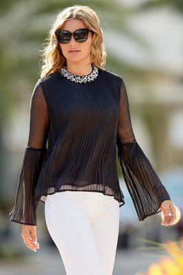 Embellished Pleated Top