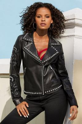 Embellished Studded Faux-Leather Jacket