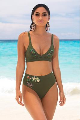 Embroidered High-Waisted Bikini