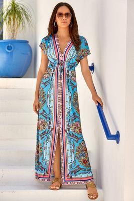 Floral Border-Print Maxi Dress