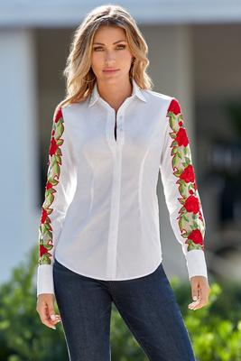 Floral Embroidered-Sleeve Shirt