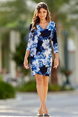Floral Scroll-Print Sheath Dress