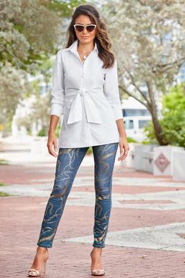 foil chain-print jeans