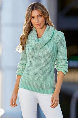 Cowl Long-Sleeve Shine Detail Sweater