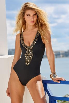 Display product reviews for Gold Bead Embellished One-Piece Swimsuit
