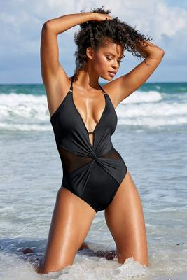 Halter Mesh Inset One-Piece Swimsuit