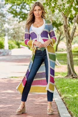 Multicolor Stripe Crochet Duster Sweater