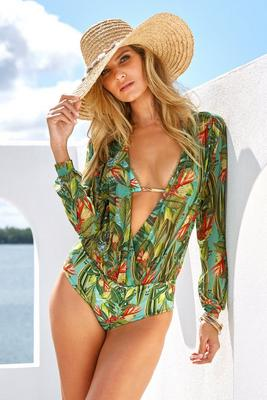Oasis Print Twofer One-Piece Swimsuit