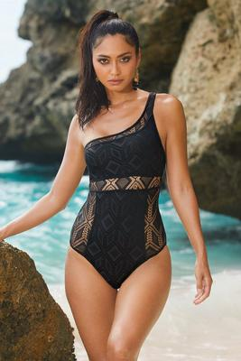 One-Shoulder Crochet One-Piece Swimsuit