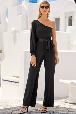 One-Shoulder Tie Jumpsuit