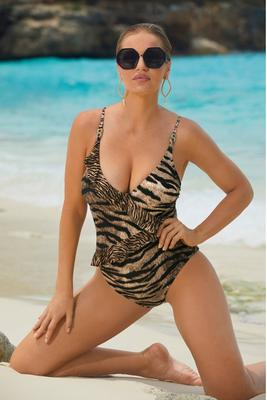 Ruffle Tiger-Stripe One-Piece Swimsuit