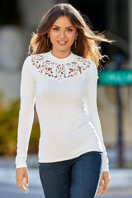 Scroll Neckline Long-Sleeve Sweater