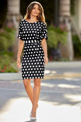 Short-Sleeve Polka-Dot Dress