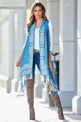 Thick Stitch Detail Scarf Vest