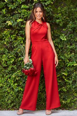 Twisted Neckline Jumpsuit