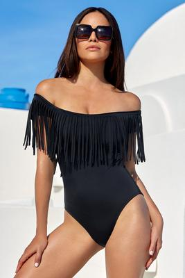 Solid Fringe One-Piece Swimsuit