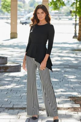 Beyond Travel™ Bar Stripe High-Rise Palazzo Pant