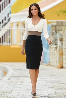 Beyond Travel™ Color-Block V-Neck Sheath Dress