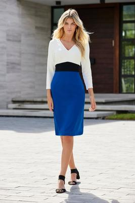Beyond Travel™ Color-Block V-Neck Sheath Dress