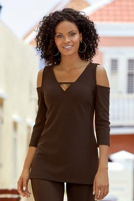Beyond Travel™ Cutout Cold-Shoulder Tunic Top
