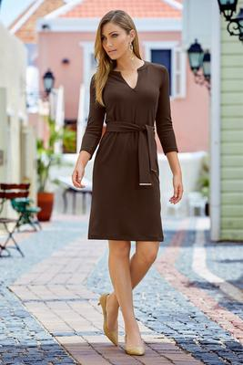 Display product reviews for Beyond Travel™ Three-Quarter Sleeve Tie-Front Dress