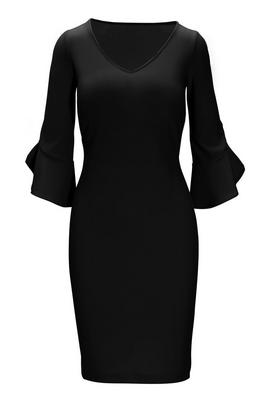 Beyond Travel™ V-Neck Flare-Sleeve Sheath Dress