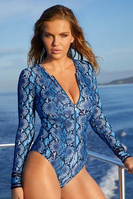 Blue Snake-Print Long-Sleeve One-Piece Swimsuit