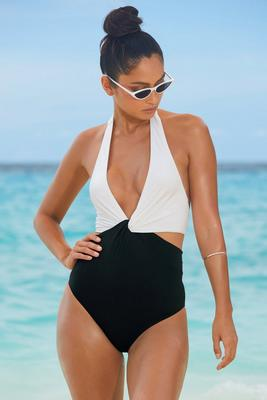 Color-Block Twist Halter One-Piece Cutout Swimsuit