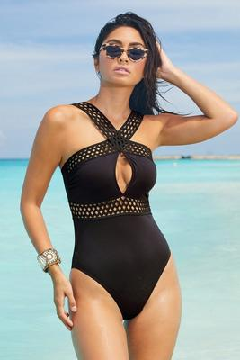 High-Neck Cutout One-Piece Swimsuit