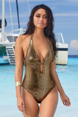 Plunging Metallic Snake One-Piece Halter Swimsuit