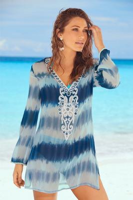 Tie-Dye Embellished Long-Sleeve Cover-Up Tunic