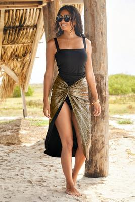 Twist-Front Metallic Snake Skirt Cover-Up