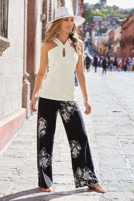 beyond travel™ high-rise floral palazzo pant