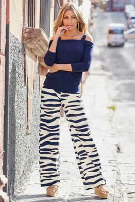 beyond travel™ painted zebra high-rise palazzo pant