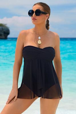 Sweetheart Mesh Overlay Swim Dress