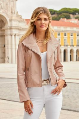 leather collared moto jacket