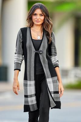Snap Closure Plaid Sweater Coat