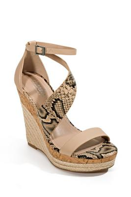 Snake Asymmetric Strap Wedge Shoe