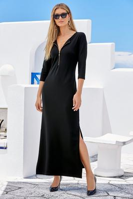 Beyond Travel™ Three-Quarter Sleeve Zipper Maxi Dress