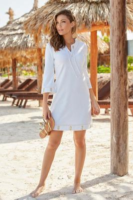 Three-Quarter Sleeve Terry Grommet Dress