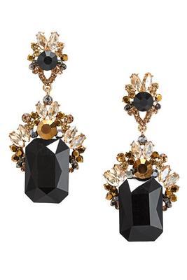 black gold jeweled earrings