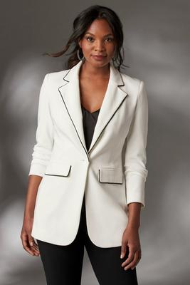 Beyond Travel™ Plus Size Piped Boyfriend Blazer