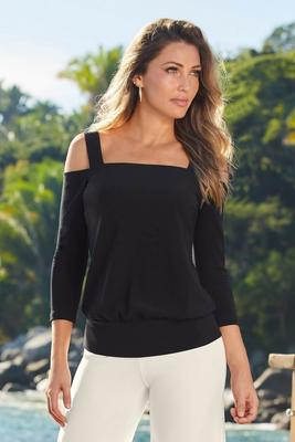 Beyond Travel™ Cold-Shoulder Square-Neck Blouson Top