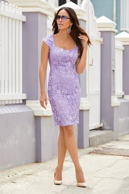 Cap-Sleeve Lace Sweetheart Sheath Dress