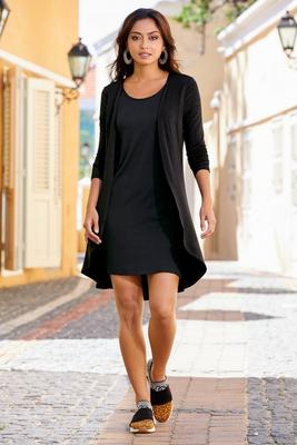 one-piece knit dress-duster combo